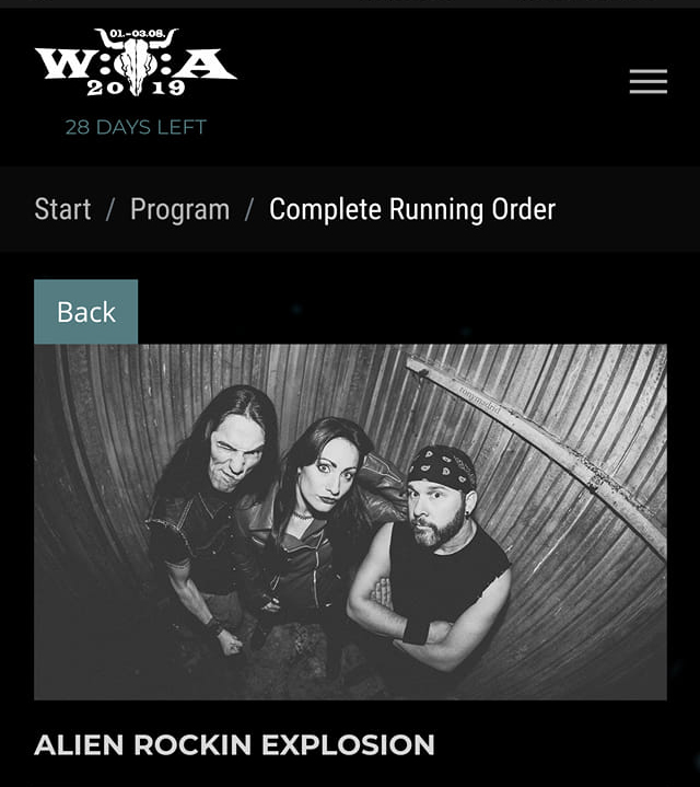 Running Order W:O:A 2019 with Alien Rockin' Explosion